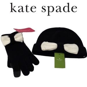 KATE SPADE COLOR BLOCK BOW BEANIE AND GLOVES SET💎